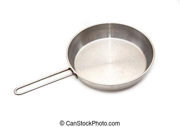 Frying pan - Large metal frying pan, image is taken over a ...