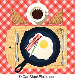 Frying pan of breakfast with fried eggs, bacon