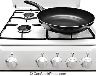 frying pan on the white gas cooker