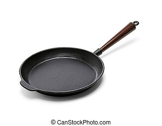 Frying pan - A Traditional cast iron frying pan isolated on...