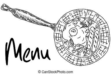 frying pan sketch drawing food doodle contour