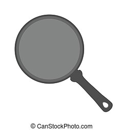 Frying pan, stainless steel kitchenware, utensil. Flat style. Vector illustration