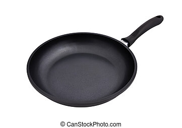 Teflon frying pan on a white background