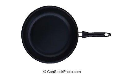 Frying Pan Teflon Kitchenware Top View Vector. Iron Frying ...