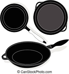 Frying pan, vector isolated