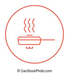 Frying pan with cover line icon.