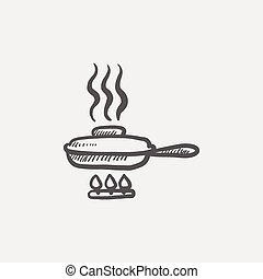 Frying pan with cover sketch icon