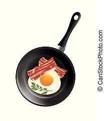 Frying pan with egg and bacon