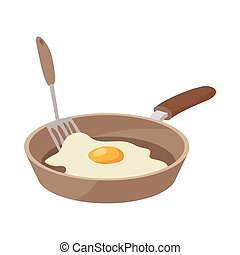 Frying pan with egg icon, cartoon style