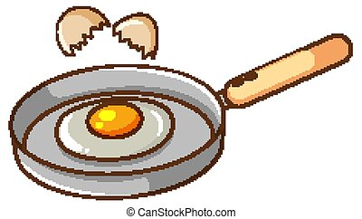 Frying pan with egg in it on white background