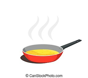 Frying pan with food cooking. Vector illustration.