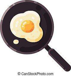 Frying pan with fried egg illustration. Cooking flat icon