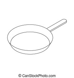Frying pan with handle icon, isometric 3d style