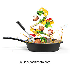 Frying pan with mushrooms with vegetables in oil, isolated on white background