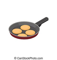 Frying pan with pancakes. Tasty snack for breakfast. Morning eating. Isometric vector icon for recipe book
