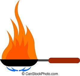 Frying pan with red handle, illustration, vector on white background.