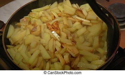 Frying Pan with Sliced Potatoes