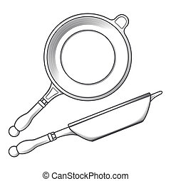 Frying pans (side and top view) isolated on a white ...