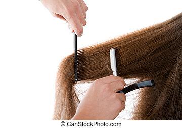 fryzjer, cięcie, przedimek określony przed rzeczownikami,...