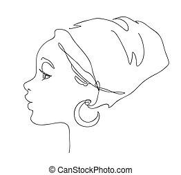 fryzura, czarnoskóry, kreska, ręka, sylwetka, art., krajowy, afrykanin, pociągnięty, rysunek, kobieta, logo, biały, ładny, wektor, ilustracja, style., twarz, portrait., ciągły, młody, szkic, girl.