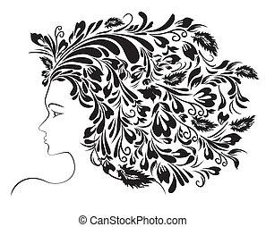 fryzura, dziewczyna, kwiatowy