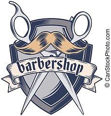 fryzura, fryzura, barbershop, fryzjer, szablon, logo