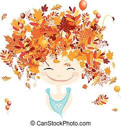 fryzura, jesień, projektować, samica, portret, twój