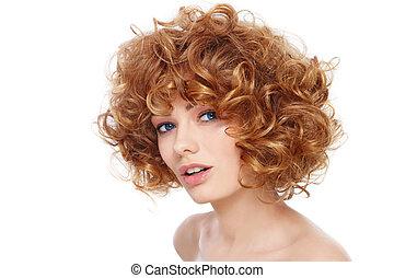 fryzura, kędzierzawy
