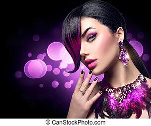 fryzura, kobieta, piękno, purpurowy, skraj, farbowany, fason, sexy