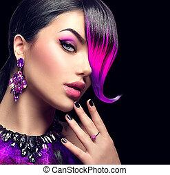 fryzura, kobieta, piękno, purpurowy, skraj, odizolowany, farbowany, fason, czarne tło, sexy