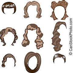 fryzura, kobieta, sylwetka, wektor, włosy, człowiek