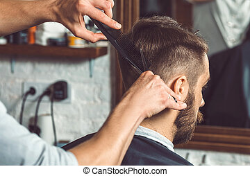 fryzura, młody, fryzjer, pociągający, siła robocza, barbershop, człowiek, zrobienie
