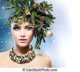 fryzura, makijaż, drzewo, woman., święto, boże narodzenie