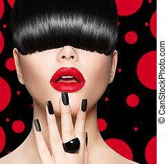 fryzura, makijaż, manicure, modny, portret, wzór, dziewczyna