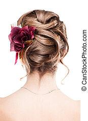 fryzura, nowoczesny, ślub