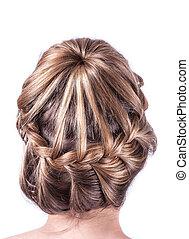 fryzura, nowoczesny, weddting