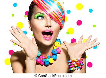 fryzura, piękno, barwny, makijaż, manicure, portret