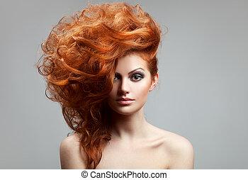 fryzura, piękno, portrait.