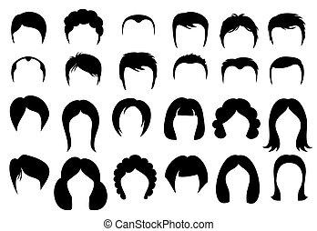 fryzura, sylwetka, ikony, styl, włosy, wektor, samica, samiec