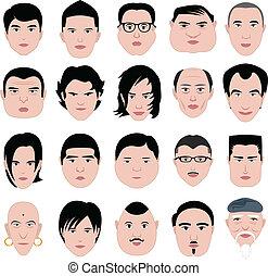 fryzura, tłuszcz, twarz, formułować, okrągły, człowiek