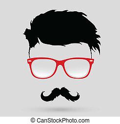 fryzura, wąsy, hipster, broda