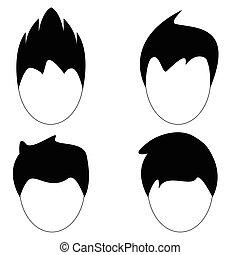 fryzura, wektor, sylwetka, włosy, człowiek