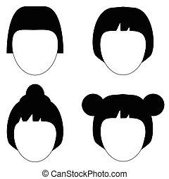 fryzura, wektor, sylwetka, włosy, kobieta