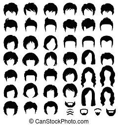 fryzura, wektor, sylwetka, włosy