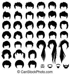 fryzura, wektor, włosy