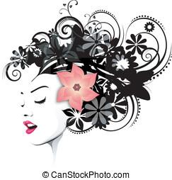 fryzura, z, niejaki, różowy kwiat