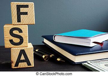 fsa, conto, spendere, legno, scritto, flessibile, cubes.