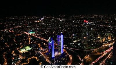 FSM Bridge - aerial view night city traffic time lapse