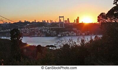 FSM Bridge - sunset at Fatih Sultan Mehmet Bridge, time...