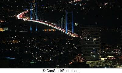 FSM Bridge - traffic on the Fatih Sultan Mehmet Bridge at...